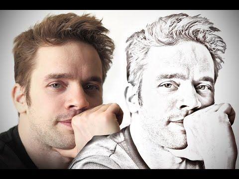 Tutoriel Photoshop - Tuto transformer une photo en dessin - Effet crayon à papier avec Photoshop - YouTube
