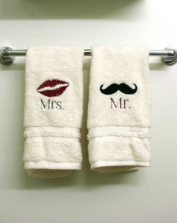 Embroidered Mr. and Mrs. hand towels by ThrivingHearts on Etsy, $31.00