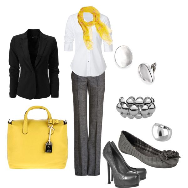 Eye-Popping Yellow- with gray!: Eyepopping Yellow, Classic Yellow, Gray Pants Outfit For Work, Clothing, Eye Pop Yellow, Grey Yellow, Gray Together, Gray Yellow, Office Style