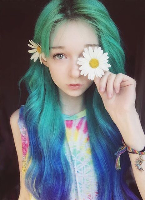 OMG Amazing turquoise green ombre hair color to blue