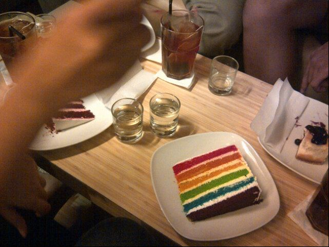 Rainbow Cake Slice