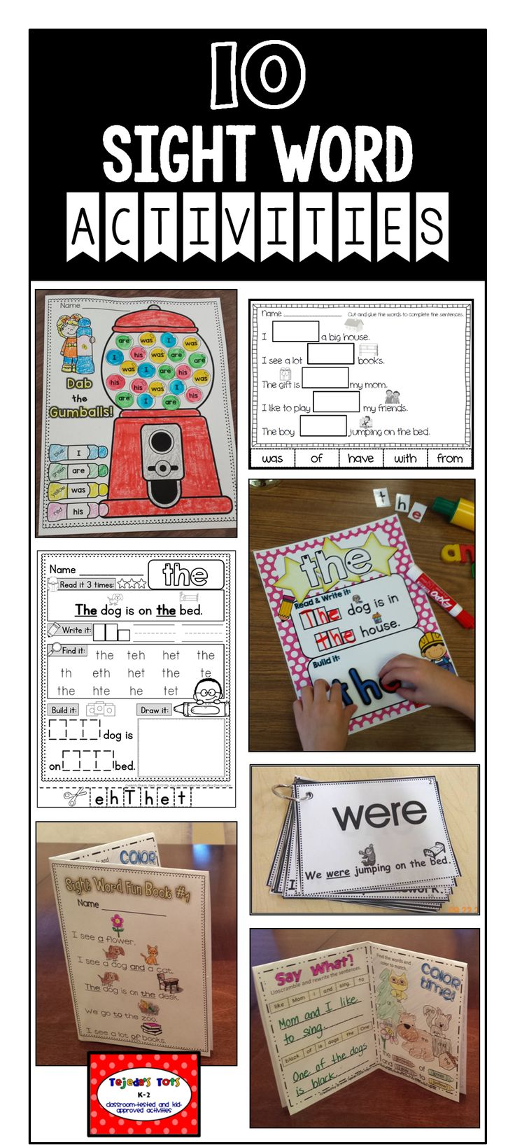 10 FREE sight word activities- sample of my Ultimate Sight Word Growing Bundle: Picture-supported Cards, Sight Word Books, Sight Word Practice Pages, Cloze Sheets, Dab the Sight Word & more!