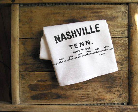 Nashville TN kitchen towel. Etsy
