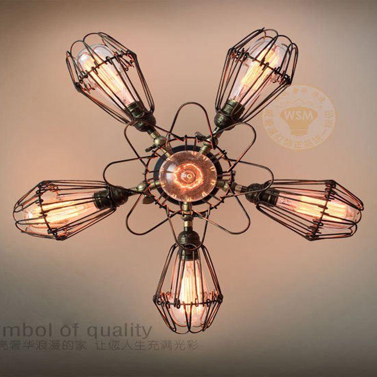 Vintage rustiques industrielle réglable plafonnier Steampunk métal Cage plafond lampe fleur de fer forgé ampoule éclairage(China (Mainland))