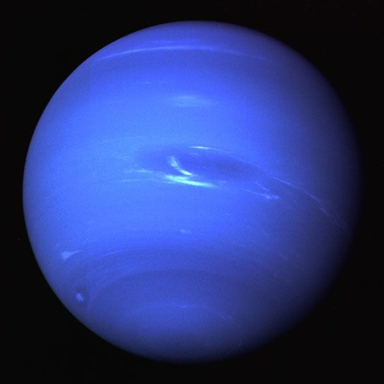 Neptune - The 8th planet from the sun and the 3rd largest, Neptune can't be seen without a large telescope, and it wasn't seen until 1846. It is named after the Roman god of the sea, Neptune.   From: Planets for Kids