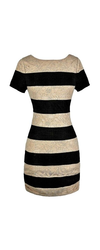 Stripe It Out Lace Pencil Dress in Black and Beige   www.lilyboutique.com