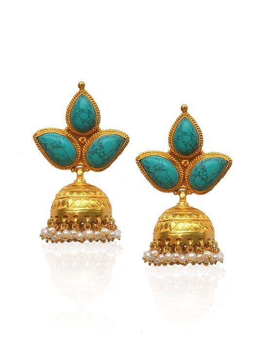 turquoise n gold jhumkas