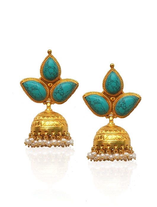 turquoise n gold jhumkas