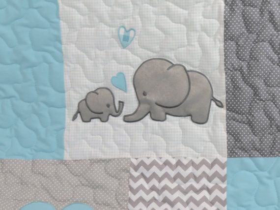 Aqua Gray Blanket Elephant Quilt Blanket by Customquiltsbyeva