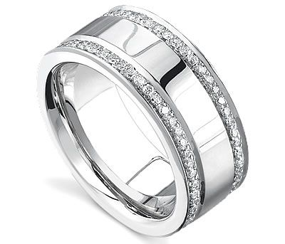 this mens diamond wedding band is luxurious and captivating with 2 rows of shinning diamonds