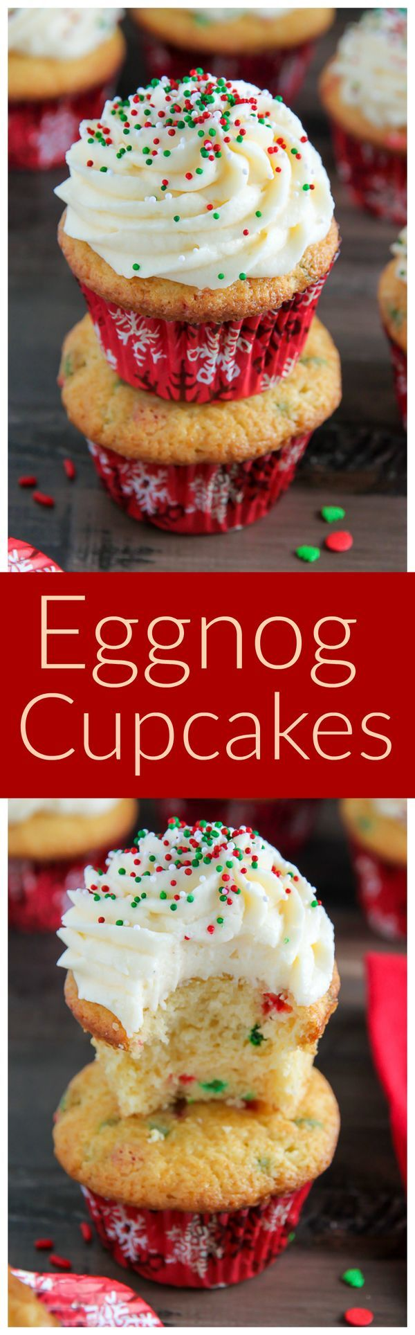 4 Eggs, large. 1 tbsp Baking powder. 2 5/8 cups Bob's red mill all-purpose flour. 4 cups Confectioners' sugar. 6 tbsp Cornstarch. 2 cups Granulated sugar. 1 tsp Salt. 2 tbsp Vanilla. 2 sticks Butter, unsalted very soft and cut into small cubes. 2 sticks Butter, unsalted very soft. 1/4 cup Sour cream, full-fat. 1/4 cup Holiday nonpareils. 1 cup Eggnog, full-fat. 1/4 cup Eggnog. 1/3 cup Holiday jimmies.