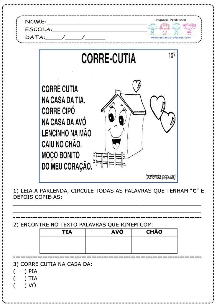 Espaço Professor: Parlenda CORRE CUTIA com interpretação