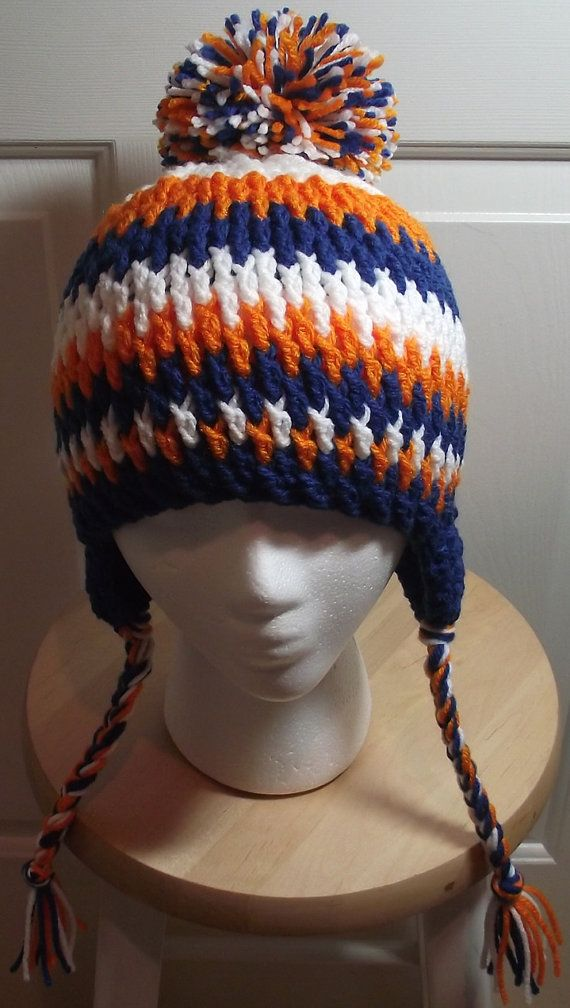 Boise State / Denver Broncos hat with Puffball by IdahoCrochetLady