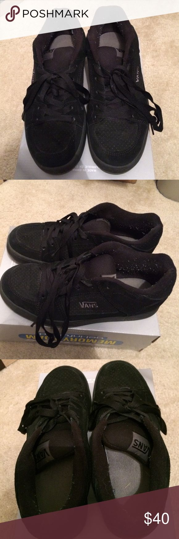 Black Vans Shoes These Vans shoes have only been worn a handful of times and are still in great condition, aside from some obvious fuzz. The box they are on does not go to them. I just don't have the original box anymore and wanted to keep them off the carpet. Vans Shoes Athletic Shoes