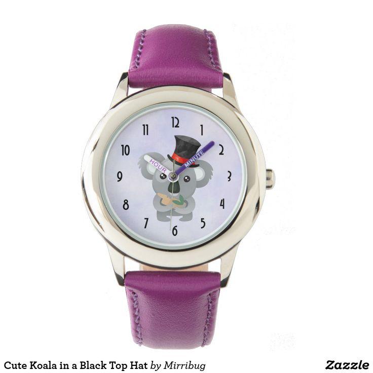 Cute Koala in a Black Top Hat Wrist Watch