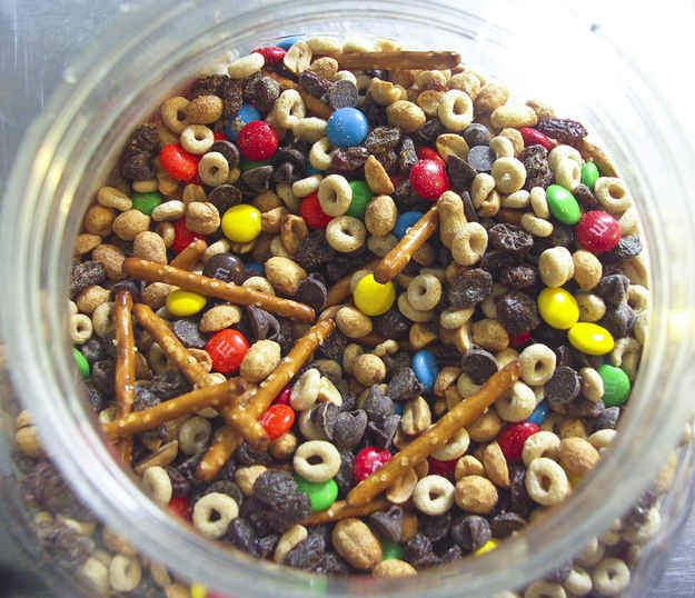 Collect ingredients to make your own trail mix. | 19 Food Hacks For College Cafeterias