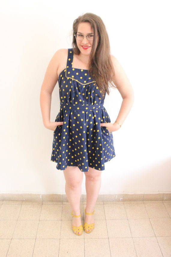 Blue and Yellow Polka dot Tent mini Dress by ClementinesBoutique, $40.00