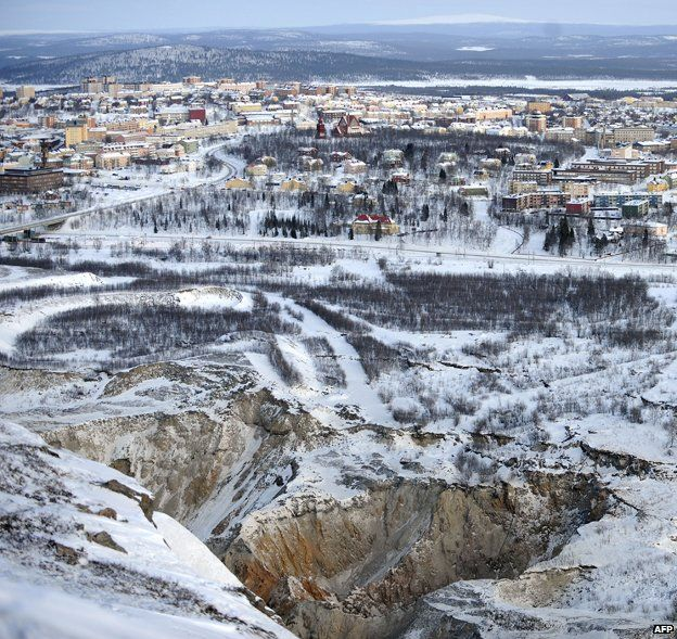 How to move a town two miles east. Kiruna, Sweden
