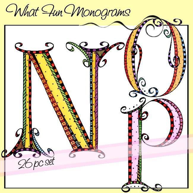 What Fun Monograms - N, O, P