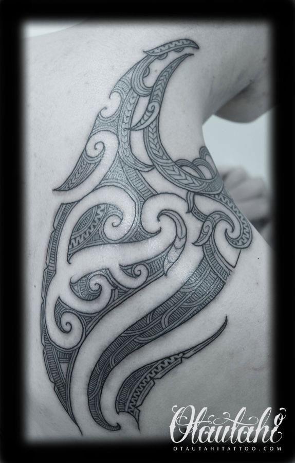 shoulder ta moko from Brad Cone at Otautahi Tattoo