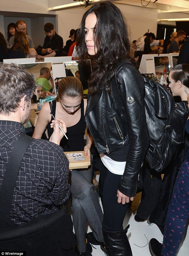 absolutely adore Michelle Rodriguez outfit combinations: a full monochrome outfit of black and white tops, black leggings, black leather boots, black leather backpack and THAT black leather jacket  Read more: http://www.dailymail.co.uk/tvshowbiz/article-2563892/Michelle-Rodriguez-hangs-girlfriend-Cara-Delevingne-backstage-Fendi-show.html#ixzz2u6Nb35n3 Follow us: @MailOnline on Twitter | DailyMail on Facebook