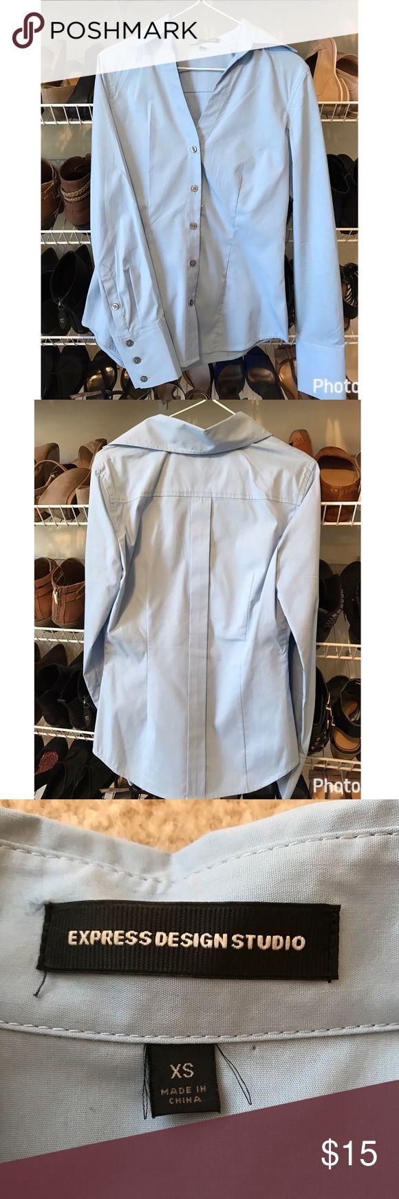 Gorgeous baby blue dress shirt. Light blue dress shirt. Barely worn, excellent condition! Express Tops Button Down Shirts