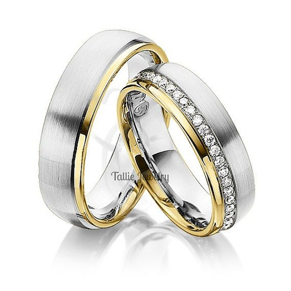 His hers mens womens matching 10k two tone wedding bands for Two tone wedding rings for women
