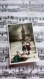 Label bij de vijver   Labels stof Kerst   Nostalgie & Brocante