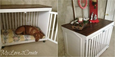 mylove2create repurposed crib into dog crate my house pinterest dogs crates and repurposed. Black Bedroom Furniture Sets. Home Design Ideas