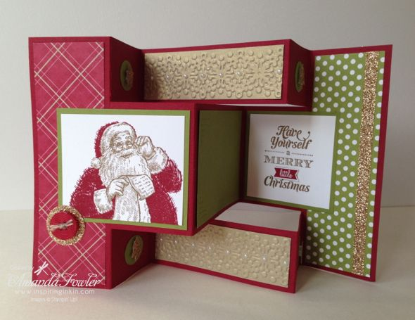 http://www.inspiringinkin.com Learn how to make a Trifold card using the Stampin' Up! Santa's List Stamp set with this video tutorial from Amanda Fowler, Independent Stampin' Up! demonstrator.