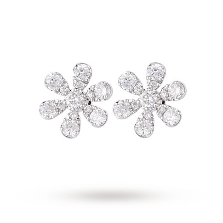 9ct White Gold 0.56ct Diamond Daisy Earrings | Gifts | Goldsmiths