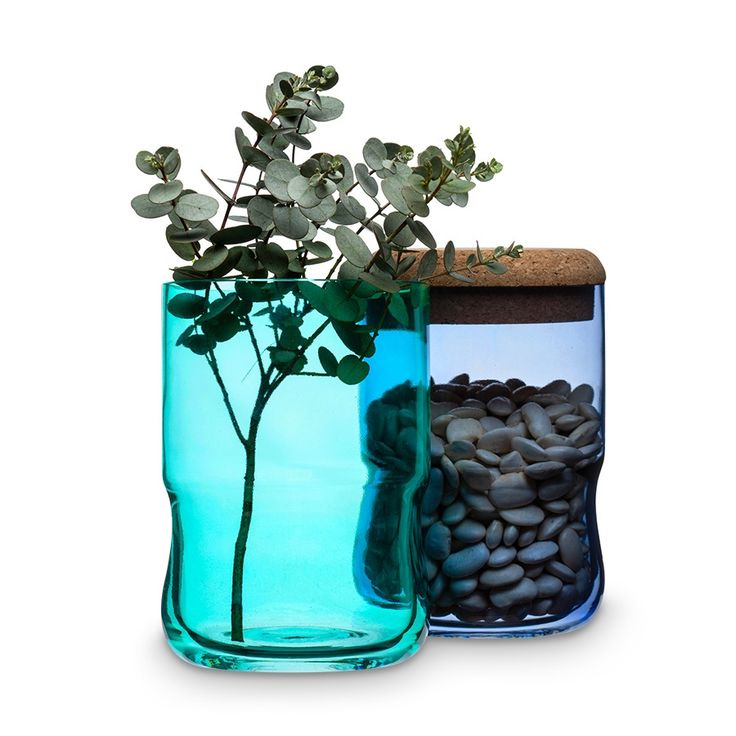 Vorratsglas Aqua - Mundgeblasenes Glas, Korkdeckel Blau