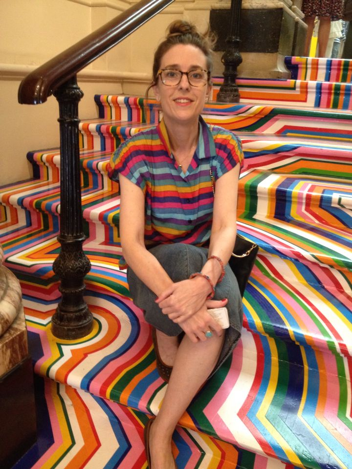 Georgia Peskett at the Royal Academy 2015 Private View on the Jim Lambie steps