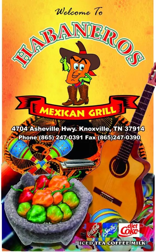 Habaneros Mexican Restaurant, East Knoxville Menu