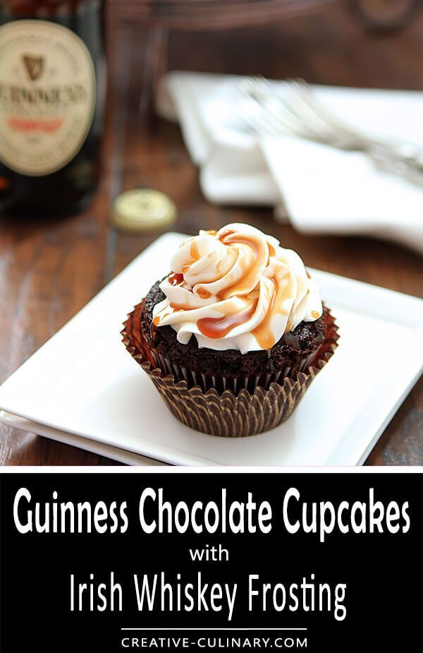 With St. Patrick's Day on the horizon I thought these Guinness Chocolate Cupcakes with Irish Whiskey Frosting would be the perfect sweet for a holiday get together. In my kitchen beer isn't just for drinking; and Guinness adds a great touch to these baked goods!