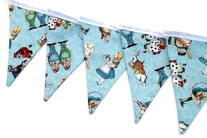 Alice in Wonderland bunting - Alice in Wonderland garland - fabric pennant banner - party bunting - blue bunting - blue garland by HandmadeByMonicaUK on Etsy
