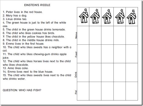Einstein S Riddle For Children English Version School