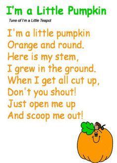 Free printable - I'm a Little Pumpkin Poem