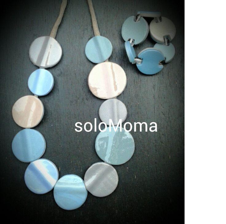 polymer clay, necklace, soloMoma