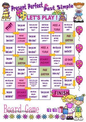 a fun way to practise those 2 tensesENJOY THE GAME ! - ESL worksheets