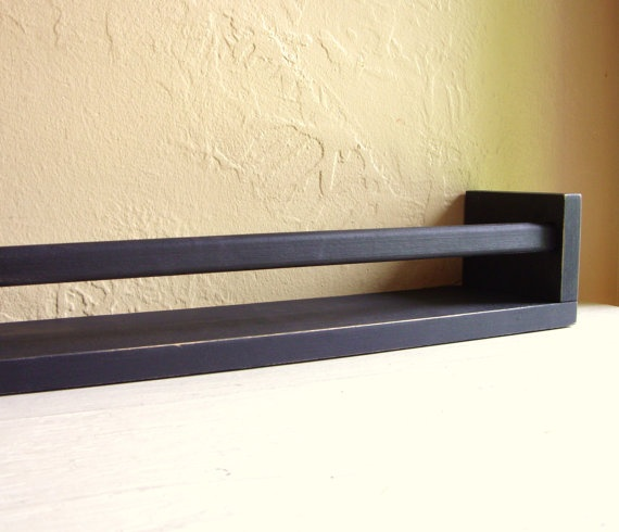 Distressed Black Wood Shelf Spice Rack