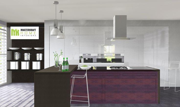 Stainless steel modular kitchen by MasterKraftHome Interiors