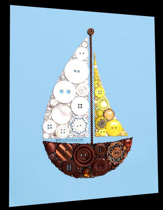 11x14 Button Art Sailboat Buttons and Swarovski Rhinestones Sail Boat Art Nautical Art