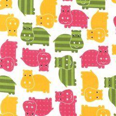 Flodhest sengetøj gul/pink, junior