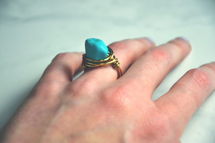 Turquoise & Gold Wrapped Ring