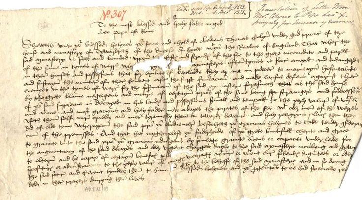 "PIRATES (c.1513-21) | Cornwall: 'Pirates have preoccupied Cornwall for many centuries, as this document from c.1513-1521 shows. Written to Pope Leo X from Thomas Colyn, Prior of Tywardreath, it declares the risk the priory was at, as ""Now adays the pirates of the see with oder men of the werres useth them self mor cruelly and mor tyrannosly towardes devoute and holy religyous places then they did of olde tyme.""     ✫ღ⊰n"