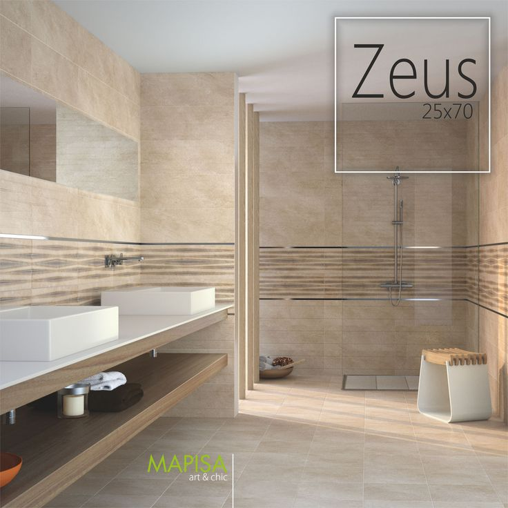 Zeus 25x70 http://www.mapisa.com/serie/zeus/  La colección Zeus se compone de elementos lisos en tonos suaves y neutros con cenefas de suaves ondas y cerámicas con líneas horizontales que crean un conjunto que da amplitud y encanto a cualquier estancia de tu hogar.