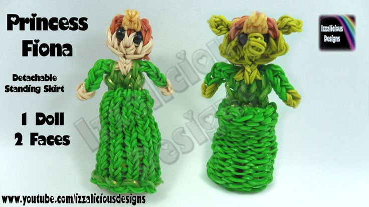 Rainbow Loom Princess Fiona Charm/Action Figure - Detachable Skirt & Standing Doll | Copyright © Izzalicious Designs, 2014. Please do not copy, remake, or redistribute this tutorial or create tutorials on this or any other design without the ...