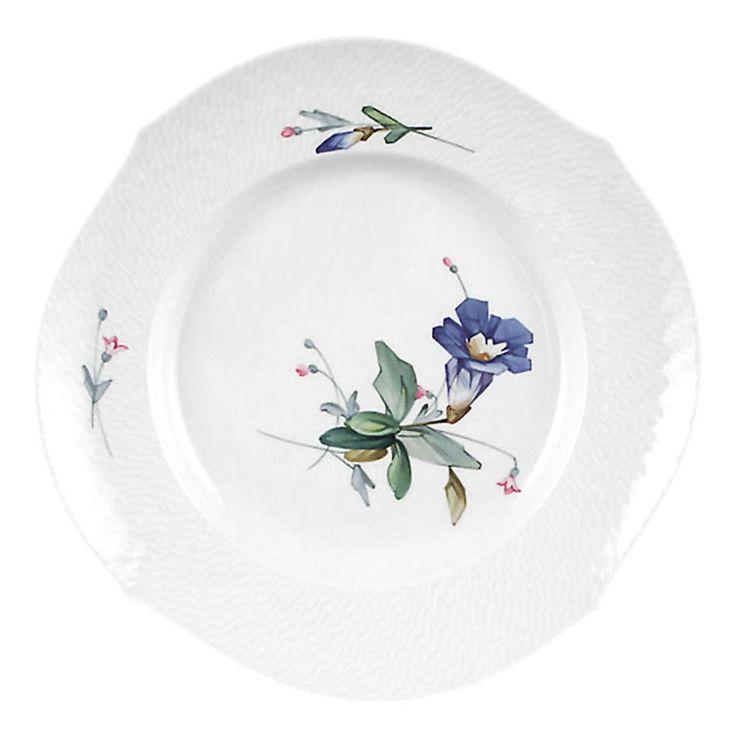 "Plate, Shape ""Waves relief"", Alpine flora, filigree, white rim, ø 22,5 cm"