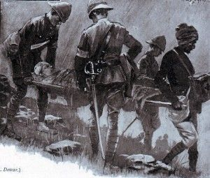 British doctors and medical staff collecting the wounded after the Battle of Elandslaagte on 21st October 1899